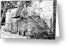 Old Black And White House  Greeting Card