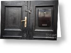 Old Black Closed Door Greeting Card
