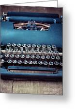 Old Blue Typewriter Greeting Card
