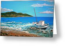 Old Boat At The Beah Greeting Card by Kostas Koutsoukanidis