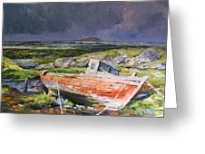 Old Boat On Shore Greeting Card