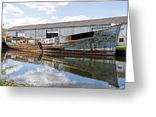 Old Boats Along The Exeter Canal Greeting Card