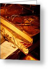 Old Books And Glasses Greeting Card