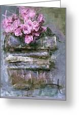 Old Books And Pink Roses Greeting Card