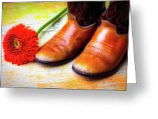 Old Boots And Daisy Greeting Card