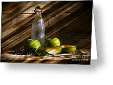 Old Bottle With Green Apples Greeting Card