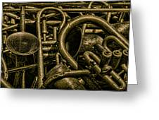 Old Brass Musical Instruments Greeting Card