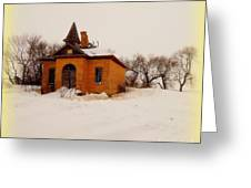 Old Brick Schoolhouse In Winter Greeting Card