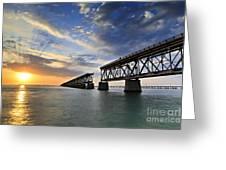 Old Bridge Sunset Greeting Card