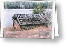 Old Cabin By The Lake Greeting Card by John Winner