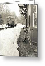 Old Caboose At Period Train Depot Winter Greeting Card