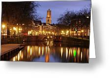 Old Canal And Dom Tower In Utrecht In The Evening 16 Greeting Card