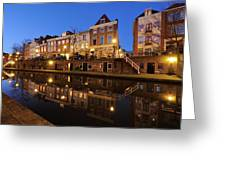 Old Canal In Utrecht At Dusk 211 Greeting Card