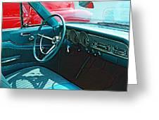 Old Car Interior Greeting Card