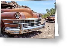 Old Cars In The Desert, Eldorado Canyon, Nevada Greeting Card by Edward Fielding
