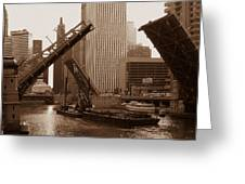 Old Chicago River Bridges Greeting Card