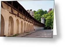 Old City Wall In St Alban Basel Switzerland Greeting Card