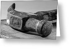 Old Claw Hammer With Wooden Handle Bw Greeting Card
