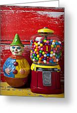 Old Clown Toy And Gum Machine  Greeting Card by Garry Gay