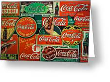Old Coca-cola Sign Collage Greeting Card