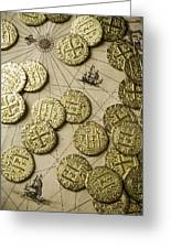 Old Coins On Old Map Greeting Card