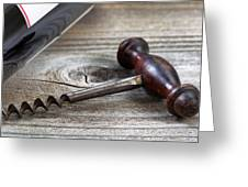 Old Corkscrew And Wine Bottle In Background On Rustic Wood Greeting Card