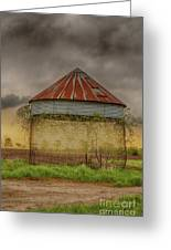 Old Corn Crib In The Cloudy Sky Greeting Card