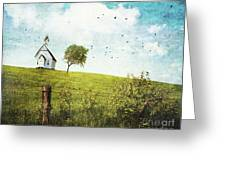Old Country School House  On A Hill  Greeting Card by Sandra Cunningham
