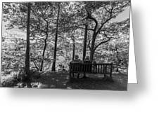 Old Couple On The Bench By The Lake Greeting Card