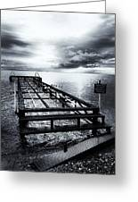 Old Dock Bw Greeting Card