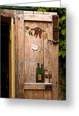 Old Door And Wine Greeting Card