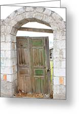 Old Door In A Brick Wall Greeting Card