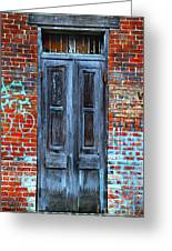 Old Door With Bricks Greeting Card