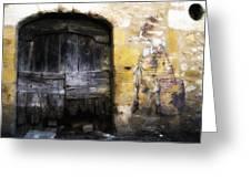 Old Door With Street Art Greeting Card