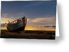 Old Dungeness Fishing Boat Under The Stars Greeting Card