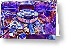 Old Engine Of American Car Greeting Card