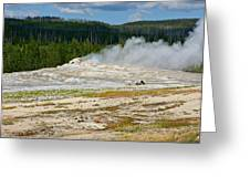 Old Faithful - An American Icon In Yellowstone National Park Wy Greeting Card by Christine Till