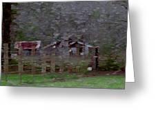 Old Farm House-impressionism Greeting Card