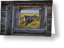 Old Farm Wagon Viewed Through A Barn Window Greeting Card