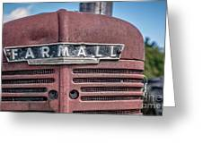 Old Farmall Tractor Grill And Nameplate Greeting Card
