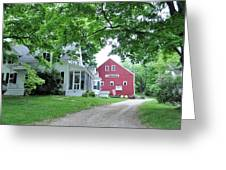 Old Farmhouse And Red Barn Greeting Card