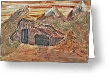 Old Farmhouse With Hay Stack In A Snow Capped Mountain Range With Tractor Tracks Gouged In The Soft  Greeting Card