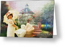 Old Fashion Child Strolling Greeting Card