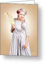 Old Fashion Woman Spring Cleaning With Broom Greeting Card