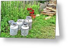 Old Fashioned Milk Churns Greeting Card