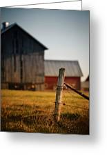 Old Fence With A Red Barn Greeting Card