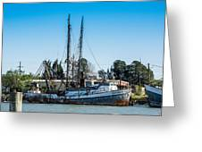Old Fishing Boat In Port Greeting Card