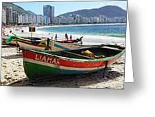 Old Fishing Boats On Copacabana Beach Greeting Card
