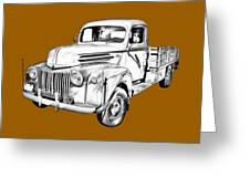 Old Flat Bed Ford Work Truck Illustration Greeting Card
