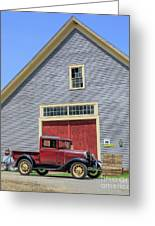 Old Ford Model A Pickup In Front Barn Greeting Card